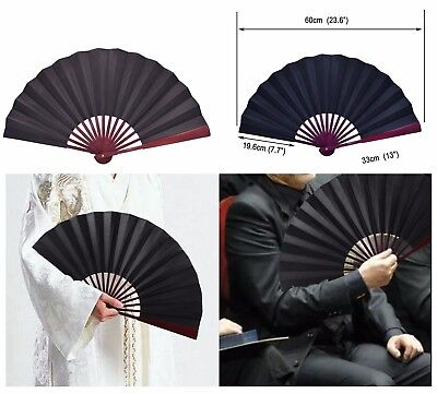 Metable Large Black Silk Folding Hand Held Fan with Bamboo Ribs Chinese Style