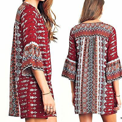 Umgee Dress Size XL S M L Shift Tunic Bell Sleeve Free Boho People Womens New