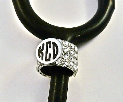 Stethoscope Id Tag Bling Ring-Cuff Monogrammed,medical,paramedic,nurse,dr.rn,