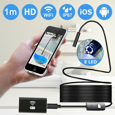 WIFI 6LED 8mm IP67 Wireless Endoscope Borescope Inspection Camera For iphone IOS