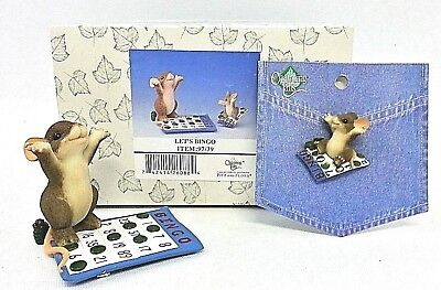 Charming Tails Let's Bingo Fitz Floyd Mouse Figurine & Pin