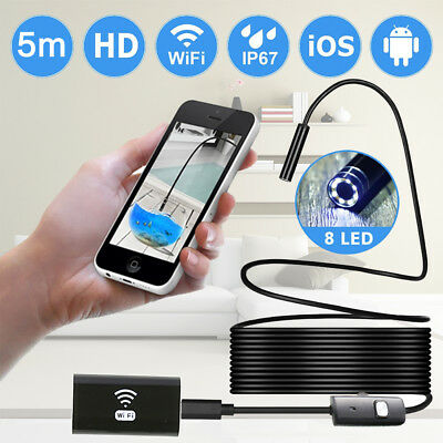 Flexible Rigid Cable 5m Wifi Endoscope 8mm 6led Inspection HD Camera Video Tube