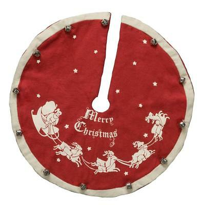 "Primitives by Kathy Red Nostaglia Christmas Tree Skirt Santa Design, 12"" Wide"