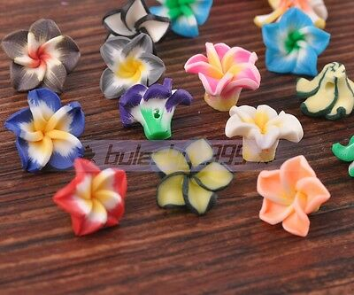 50pcs 15mm Mixed Color Polymer Fimo Clay Charms Flower Loose Spacer Beads