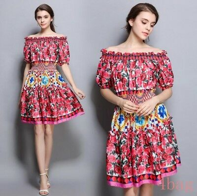 Occident Women NEW Elastic high Waist Dress Off Shoulder Summer dresses Floral
