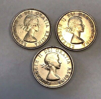 Sale!  Lot Of 3  1953  Canadian Silver Dollars