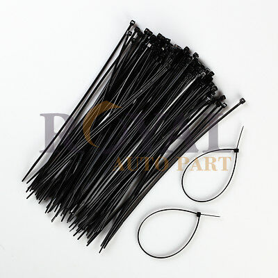 100 Pack Black 8 Inch Zip Ties Nylon 18 Lbs Uv Weather Resistant Wire Cable
