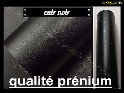 Film vinyle covering cuir noir 152 x 50 cm thermoformable adhesif