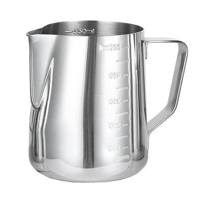 Stainless Steel Milk Coffee Pitcher Latte Espresso Frothing Scale Jug 600ml
