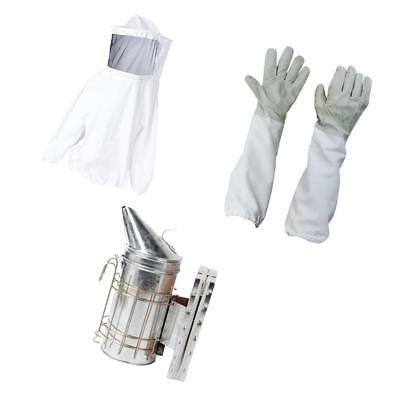 Beekeeping Jacket Veil Bee Protecting Suit with Gloves and Bee Hive Smoker
