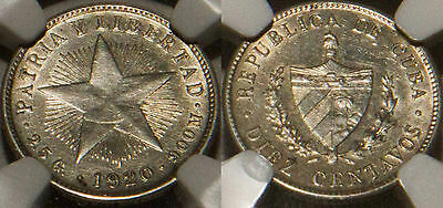 1920 Silver 10 Diez Centavos NGC UnCirculated Silver Coin
