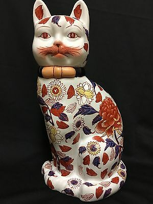 Porcelain Cat-Large-Japanese Imari, Signed, Hand-painted, Mint Condition