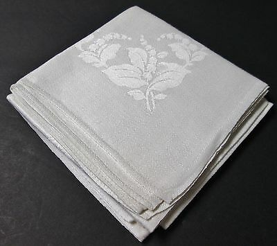 Pretty Pair Irish Linen Damask Napkins Lily of the Valley Florals & Ferns Unused