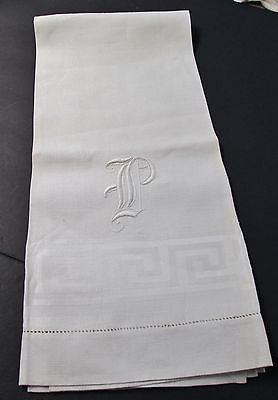 Antique Nubby Linen Bath Towel Large Ornate P Monogram Silky Fabric Hemstitched