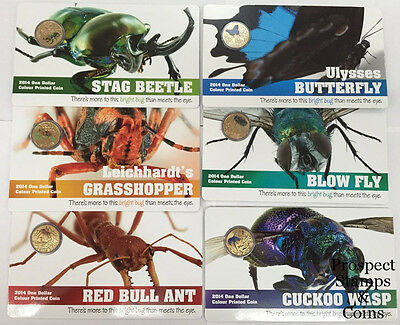 2014 Bright Bugs Series - Set of 6 One Dollar $1 Uncirculated Australian coins