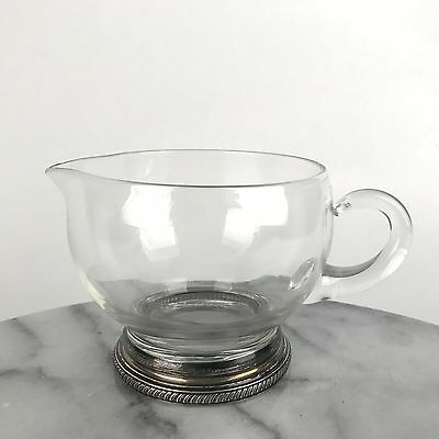 Vintage Glass Creamer with Sterling Silver Foot and Applied Handle