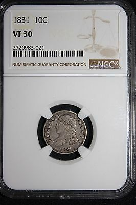 1831 Dime Capped Bust Dime 10 Cents Silver NGC Graded!