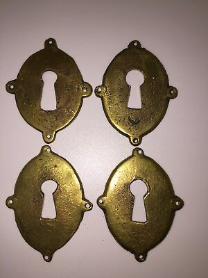 Antique Set of Four period English Cabinet Key Plate Cover Brass 2 x 1 3/4