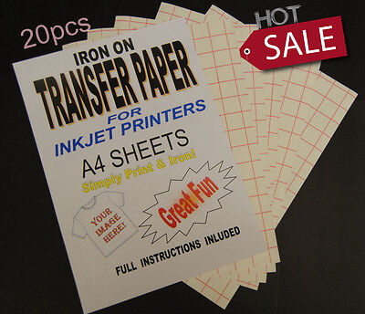 A4 20 Sheets Inkjet Iron On T Shirt& Fabric Transfer Paper For Light Fabrics AU