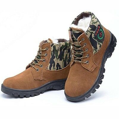 New Mens Winter Warm Thicken Safety Shoes Steel Toe Prevent Puncture Work Boots