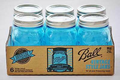6x Heritage Blue Pint Regular Mouth Ball Mason Jars and Lid - Limited Edition!