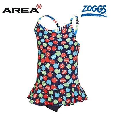 Zoggs Girls Appletizer X Back Swimdress, One Piece Swimwear , Girls Swimwear.