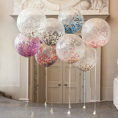 10Pcs Confetti Latex Clear Ballons Wedding Birthday Party Celebration Decoration