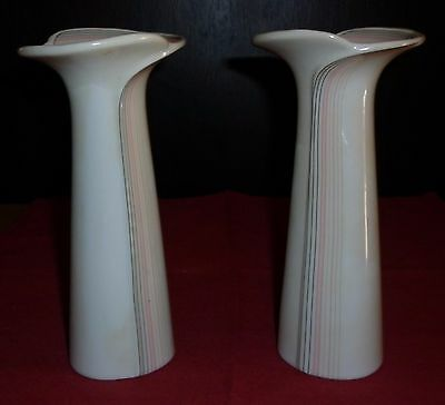 Vintage  Pair Japanese  Porcelain  Groovy Shape Vases Great Condition