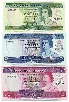 Solomon Islands 1977 Set of 3, Uncirculated 2-5-10, Pick 5-7, Matching Serial #