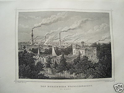 Berlin Borsigsche Etablissement alter   Stahlstich 1882