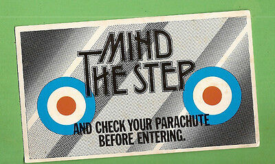 #D309. 1960s  FUNNY  GREETING  CARD, MIND THE STEP, CHECK PARACHUTE