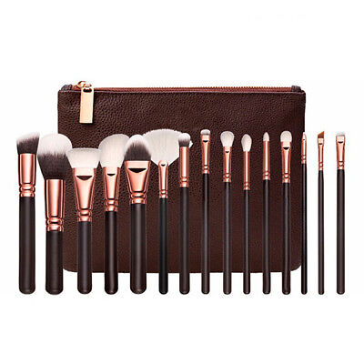 15Pcs Makeup Brush Set Powder Eye Cosmetic Kit Complete Rose Golden With Case