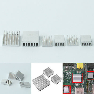 6x Aluminum Heat sink Spreader Cooler Kit For Cooling Fin Memory Chip IC 2 Size
