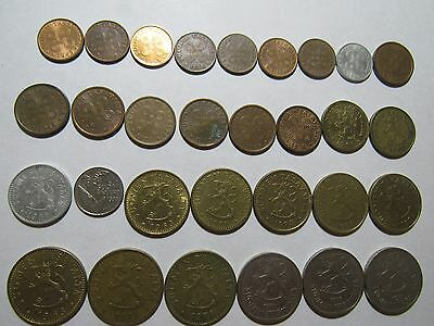 Lot of 30 Different Old Finland Coins - 1963 to 1993 - Circulated & Uncirculated