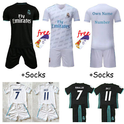 2017-18 Football Kits Sport outfit Kids Boys Youth Short Sleeve Jersey + Socks
