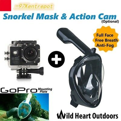 Swimming Diving Full Face Snorkel Scuba Anti-Fog Mask Surface for GoPro S/M/L/XL