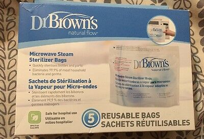Dr. Brown's Natural Flow Microwave Steam Sterilizer Bags, 5 Pack, Sealed New NIB