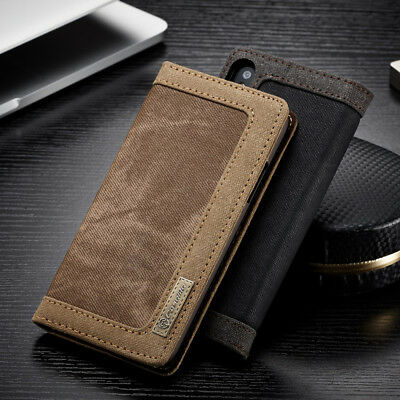 Luxury Canvas Flip Card Wallet Case Magnetic Cover For iPhone X 8 5 6s 7 Plus