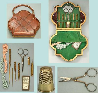 Antique Leather Purse Sewing Set w/ Gilded Tools * French * Circa 1850-60