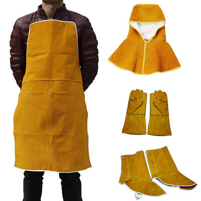 Welding Apron Clothing Apparel Fire Resistant Hood Gloves Shoes Cover Set