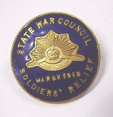 WW1 State War Council Soldiers Relief 1918 Enamel Badge Pin