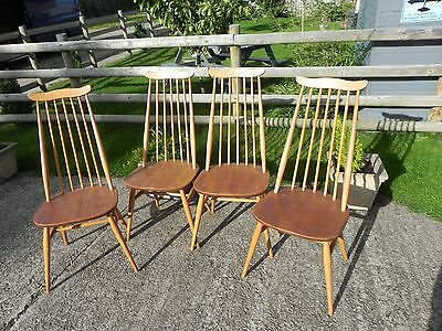 chairs dining chairs ercol vintage set of 4 picclick uk. Black Bedroom Furniture Sets. Home Design Ideas
