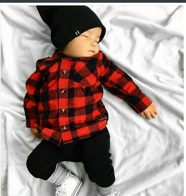 New * Baby Boy / Girl * 12-18Month * Plaid Shirt * Red & Black * Uk Stock