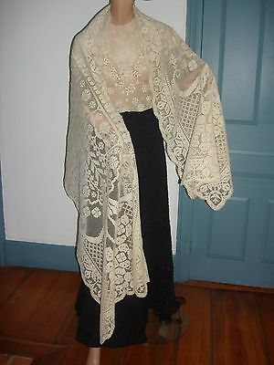 "Edwardian Vintage 1910 Filet Off White Lace Shawl or Runner 92"" by 30"" Nice Cond"