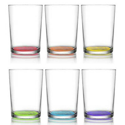Pack of 6 Coloured Glasses Glass Cup Drinking Drink Tumblers Mugs Whiskey Set
