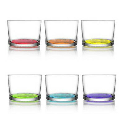 Pack of 6 Coloured Glasses Whiskey Cup Drinking Drink Glass Tumblers Mugs Set