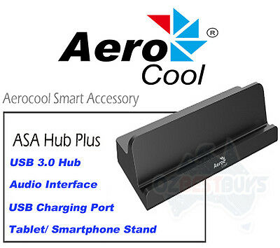 Aerocool USB 3.0 Powered Hub Plus Audio Output & USB Charging Ports ACAH-P37A000