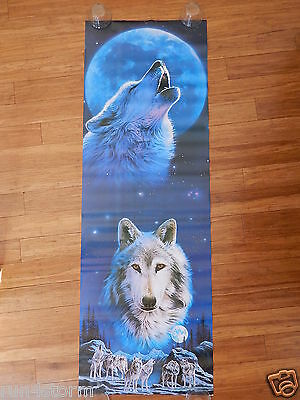 """Wolf Howling w Full Moon Wolves Pack """"Call of the Wild"""" 21x62 Door Size Poster"""