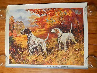"""Vintage 1960's Honoring a Point Dogs STAN FENELLE 29"""" x 22 ½"""" Poster"""