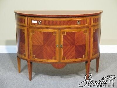 L41441: Italian Continental 1/2 Round Walnut & Satinwood Commode
